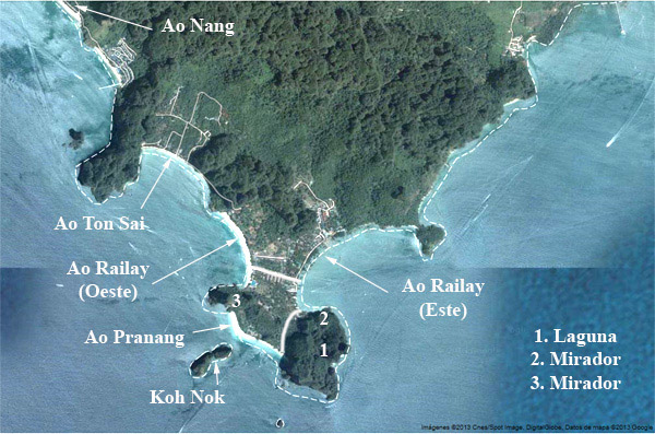 Mapa de las playas de Railay